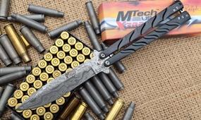 Нож бабочка MTech дамаск (имитация)