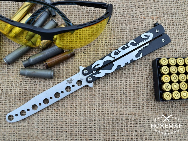Тренировочный нож бабочка Benchmade Black Scorpion